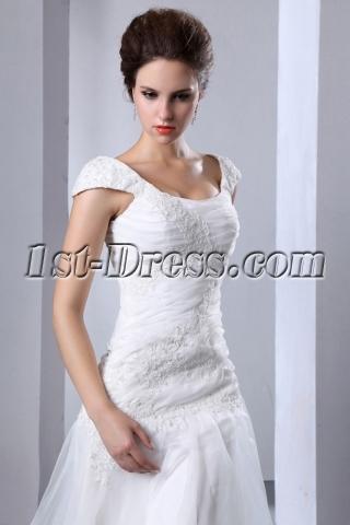 Scoop Neck Drop Waist Wedding Dress with Cap Sleeves