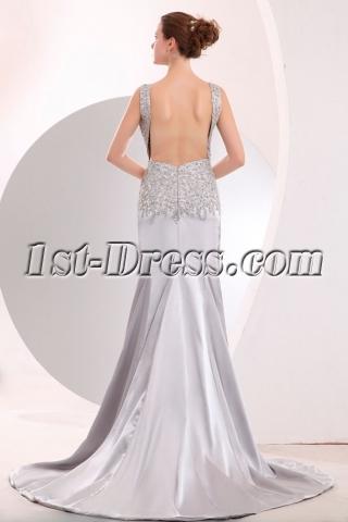 Scoop Open Back Silver Slit Evening dresses