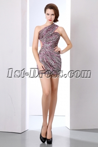 Sexy Leopard Open Back Mini Cocktail Dress with One Shoulder