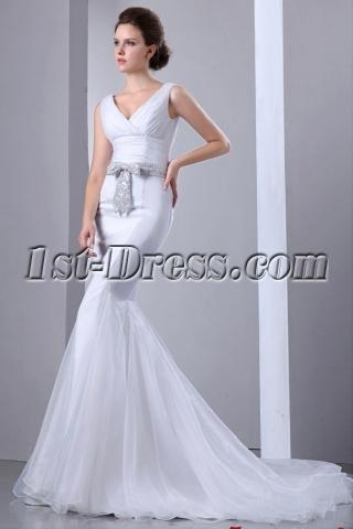 Sexy Mermaid V-neckline Bridal Gowns 2014 with Silver Sash