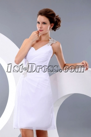 Sexy One Shoulder Backless Little White Party Dress