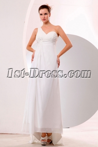 Sexy Open Back One Shoulder Beach Wedding Dress with Slit