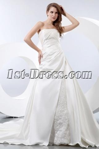Simple A-line Satin Strapless Wedding Dress for Older Bride