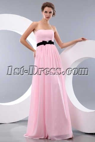 Simple Pink and Black Long Chiffon Bow Beach Bridesmaid Dresses