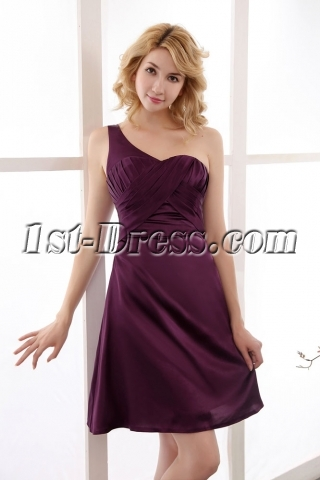 Simple Satin Grape One Shoulder Homecoming Dresses