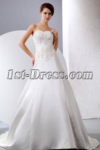 Simple Satin Mature Bridal Gown for Second Wedding