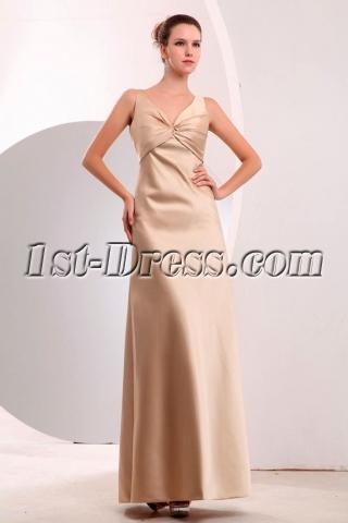 Simple Satin Sleeveless Champagne A-line Graduation Dresses