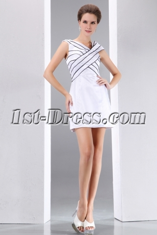Simple Satin White and Black Mini Formal Prom Dress