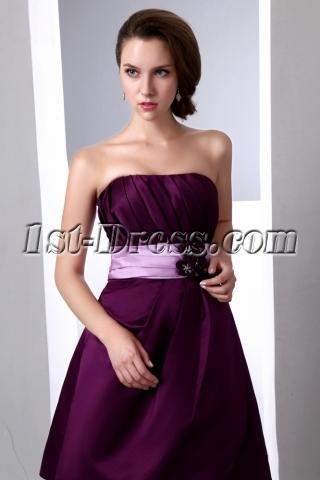 Simple Short Grape Satin Bridesmaid Dresses under 100