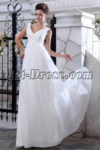 Simple V-neckline Chiffon Empire Maternity Wedding Dresses