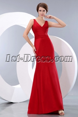 Simple Wine Red Long Taffeta Sheath Graduation Dress with V-neckline