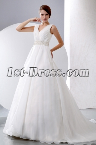 Sleeveless V-neckline Organza Winter Wedding Dresses Ball Gown 2014