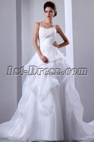Spaghetti Straps Organza Ball Gown with Pick up Skirt and Beading