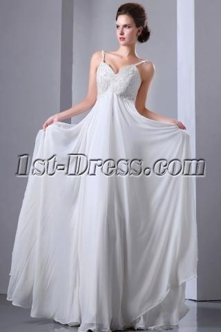 Spaghetti Straps V-neckline Chiffon Long Spring Pregnant Bridal Dress