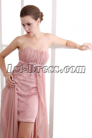 Special Coral Empire Waist High-low Prom Dresses