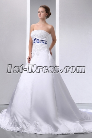Special Elegant Ivory and Royal Blue Satin A-line Wedding Dress