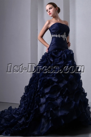Special Navy Blue Organza Ruffled Bridal Gown 2014 Corset