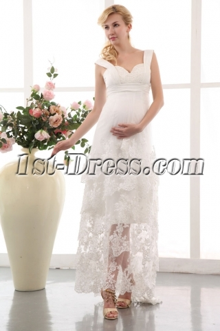 Special Straps Empire Maternity Bridal Gowns for Spring