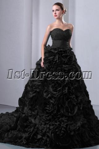 Special Vampire Black Floral Wedding Dresses 2014