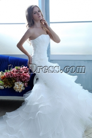 Spring Layered Long Mermaid Wedding Dresses 2014 with Train