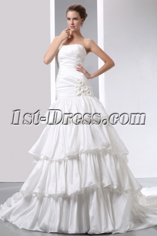 Strapless Fashion Layered Mermaid Wedding Dresses