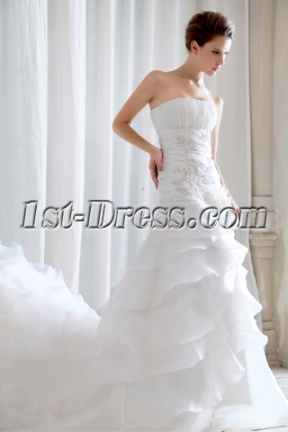 Strapless Organza A-line Gorgeous Bridal Gowns 2014 Spring
