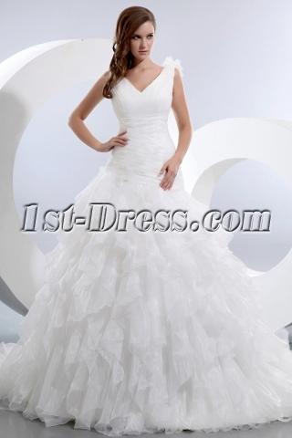 Stunning Sleeveless V-neck Ruffles Organza Bridal Gowns