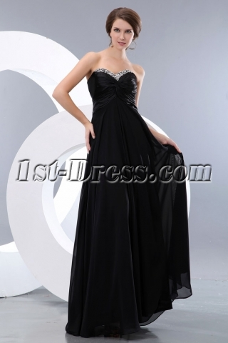 Sweet Black Long Empire Plus Size Prom Gown