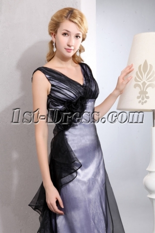 Sweet Black V-neckline Organza Long Graduation Dress