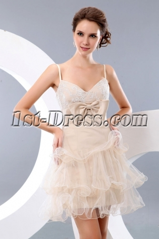 Sweet Champagne Military Short Prom Dresses