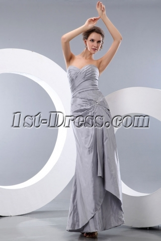 Sweet Sheath Silver Taffeta Ankle Length Bridesmaid Dress
