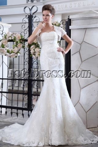 Sweetheart Sheath Lace Bridal Gowns with Bolero