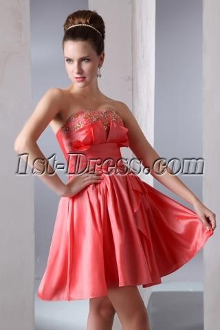 Taffeta Strapless A-line Short Junior Prom Dress