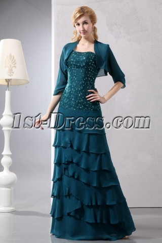 Teal Blue Drop Waist Sweetheart Layers Chiffon Mother of Brides Dress with Match Jacekt