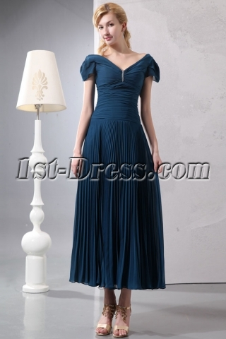 Teal Blue Romantic Tea Length V-neckline Formal Evening Dress with Cap Sleeves