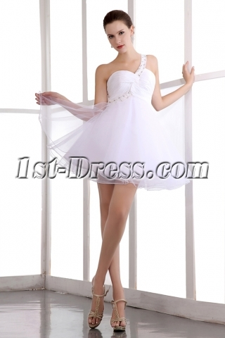 Terrific One Shoulder Puffy Cocktail Dress