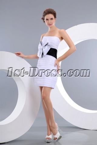 Terrific White and Black Organza Mini Short Prom Gowns