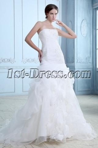 Trumpet/mermaid Strapless Pick up Court Train Organza Wedding Dress