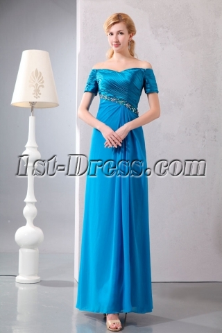Turquoise Off Shoulder Long Mother of Groom Dress with Short Sleeves