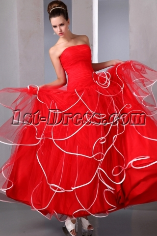 Unique Red and White Quinces Ball Gown Dress 2014
