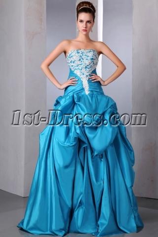 Unique Turquoise Blue Strapless Quinceanera Gown Dresses Pretty