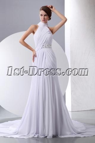 White Halter High Neckline Chiffon Beach Wedding Gown