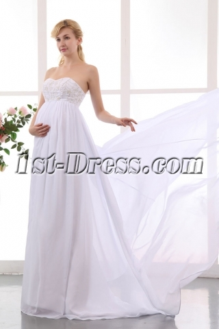 Wholesale Embroidery Empire Chiffon Long Maternity Bridal Dress