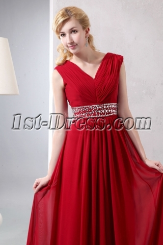 Wine Red Chiffon Long V-neckline Full Figure Evening Dress