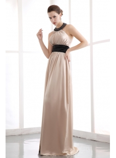2014 Spring Gorgeous Black Halter Long Satin Homecoming Gown