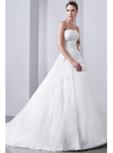 A-line/princess Strapless Chapel Train Satin Wedding Dress