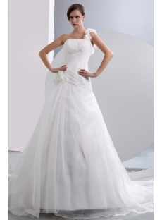 Affordable One Shoulder A-line Bridal Gowns with Floral
