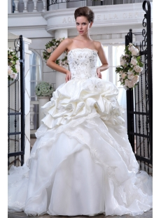 Appliques Beaded Elegant Wedding Dresses with Long Trains