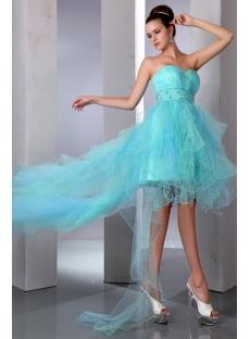 Aqua Sweetheart Neckline High-low Cocktail Dress with Train