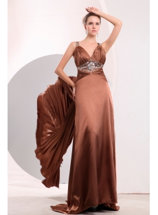Beaded Brown T-back Pleat Celebrity Evening Dress with Train